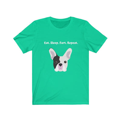 Green t-shirt with black and white french bulldog on the front