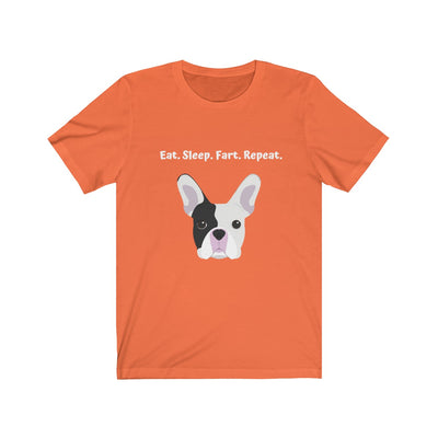 Orange t-shirt with black and white french bulldog on the front