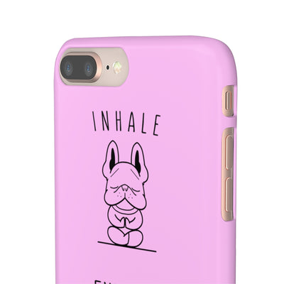 Pink phone case with french bulldog doing yoga on, side view