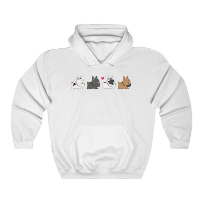 White hoodie with four french bulldogs walking in a row on the front
