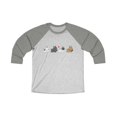 Grey 3/4 Tee with four french bulldogs on