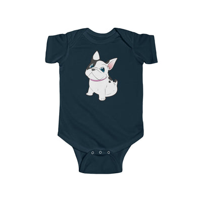 Black baby Bodysuit with a cute white french bulldog on