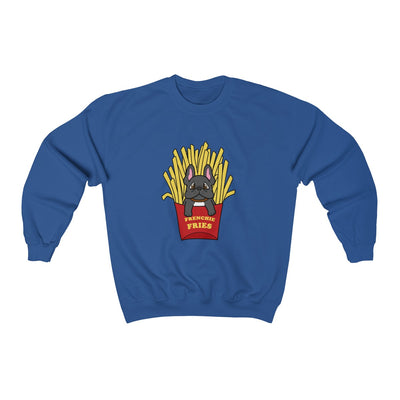 Dark blue hoodie with a French Bulldog Frenchie Fries design in the middle