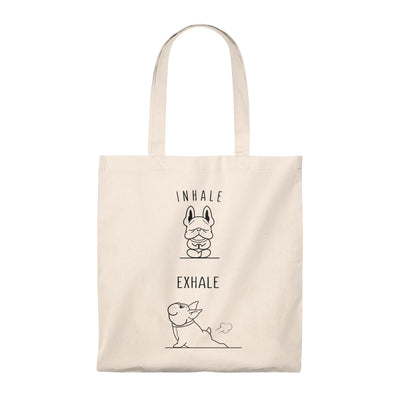 Beige tote bag with two french bulldogs doing yoga on, beige handle