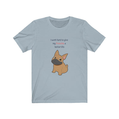 Blue t-shirt with a fawn colored french bulldog on