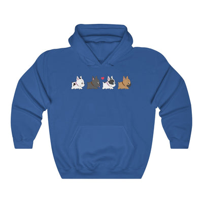 dark blue hoodie with four french bulldogs walking in a row on the front
