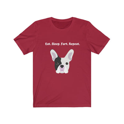 Red t-shirt with black and white french bulldog on the front