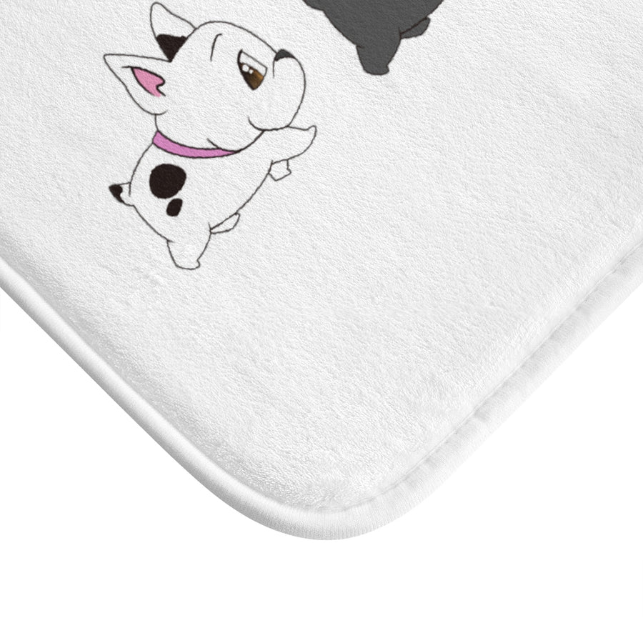 Four French Bulldogs Bath Mat