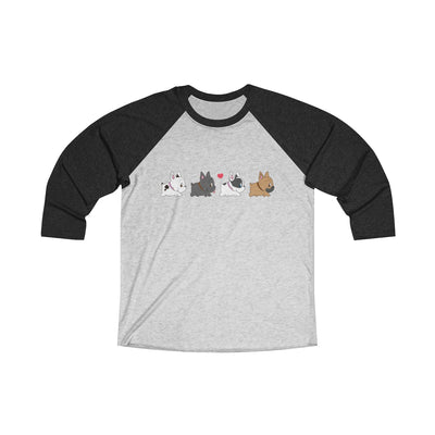Black 3/4 Tee with four french bulldogs on