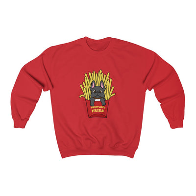 Red hoodie with a French Bulldog Frenchie Fries design in the middle