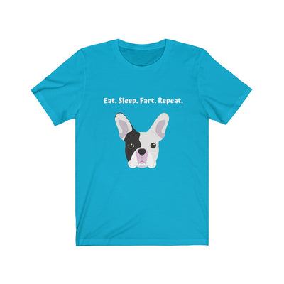 Light blue t-shirt with black and white french bulldog on the front