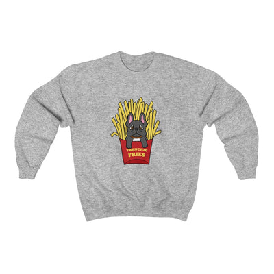 Grey hoodie with a French Bulldog Frenchie Fries design in the middle