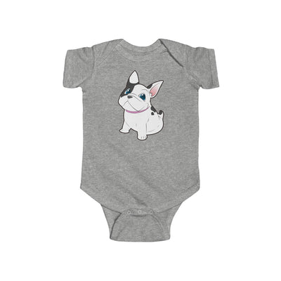 Grey baby Bodysuit with a cute white french bulldog on