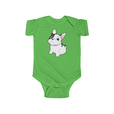 green baby Bodysuit with a cute white french bulldog on