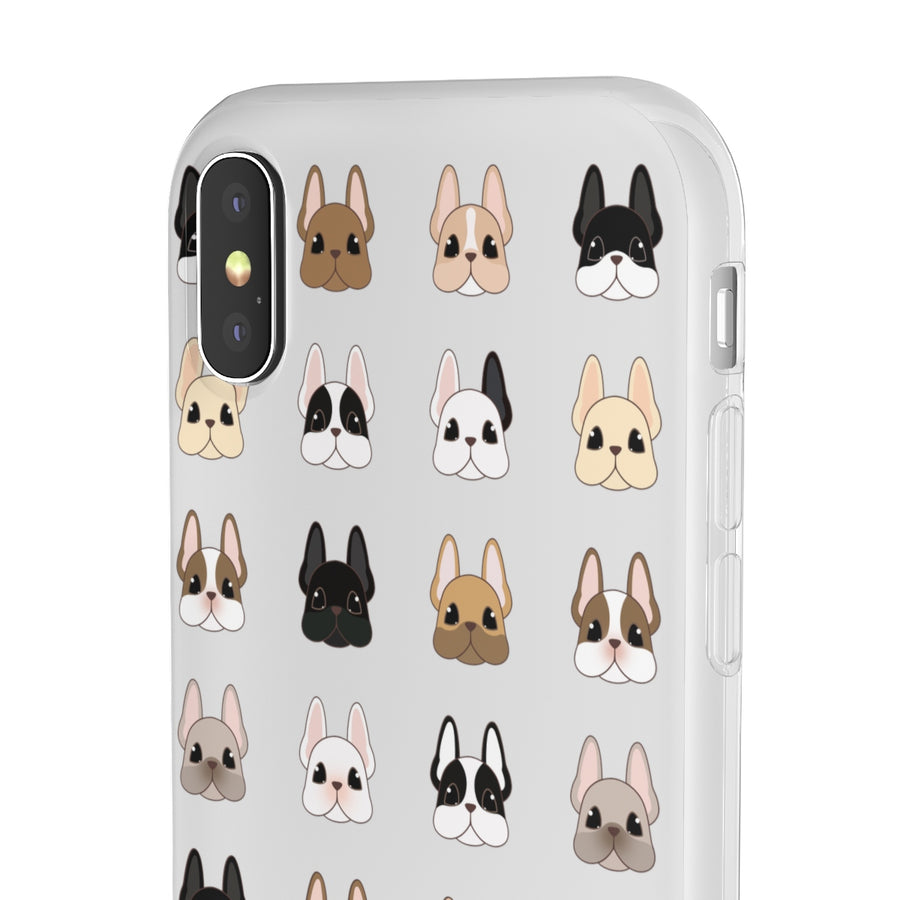 phone case with many different french bulldog faces on front and side view