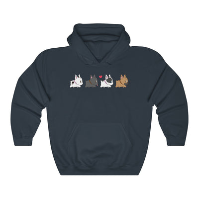 Black hoodie with four french bulldogs walking in a row on the front