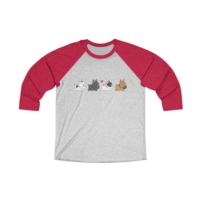 Red 3/4 Tee with four french bulldogs on
