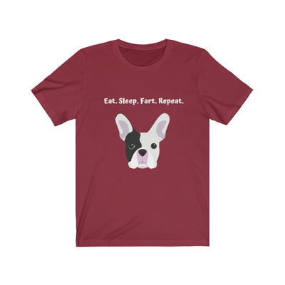 Dark red t-shirt with black and white french bulldog on the front