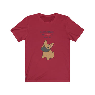 Red t-shirt with a fawn colored french bulldog on