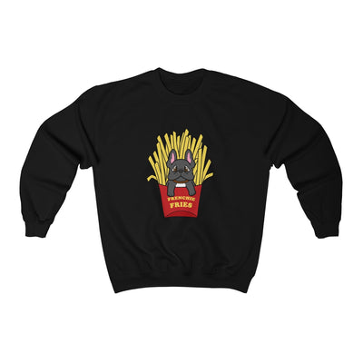 Black hoodie with a French Bulldog Frenchie Fries design in the middle