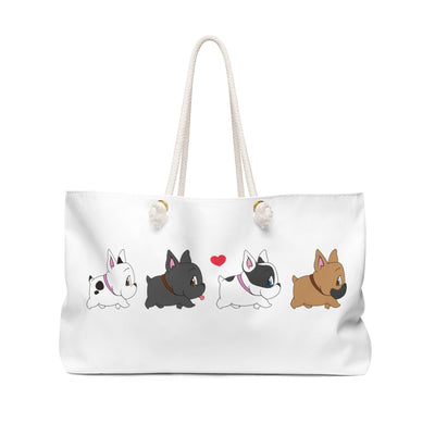 white bag with 4 different colored french bulldogs walking together in a row