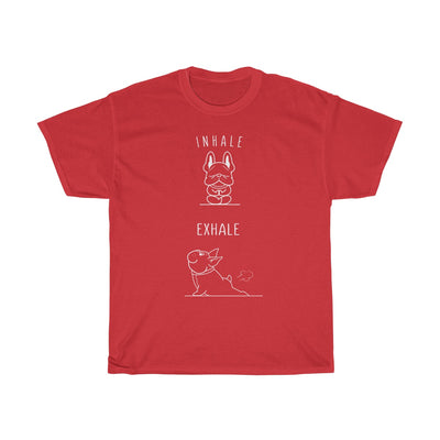red t-shirt with a french bulldog doing yoga on the front