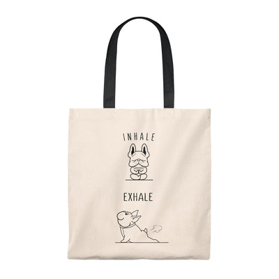 Beige tote bag with two french bulldogs doing yoga on, black handle