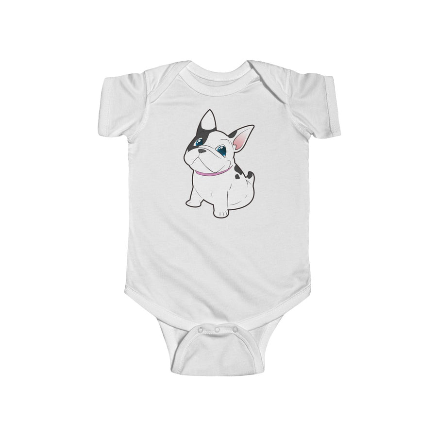 Pink baby Bodysuit with a cute white french bulldog on