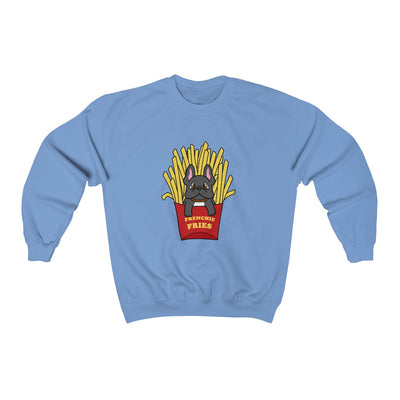 Light Blue hoodie with a French Bulldog Frenchie Fries design in the middle