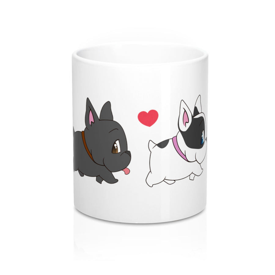 white mug with four different coulured french bulldogs on walking in a row. with a red heart