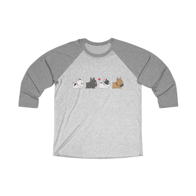 Dark Grey 3/4 Tee with four french bulldogs on