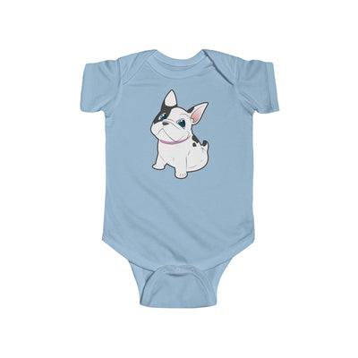 Blue baby Bodysuit with a cute white french bulldog on
