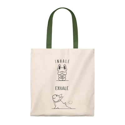 Beige tote bag with two french bulldogs doing yoga on, green handle