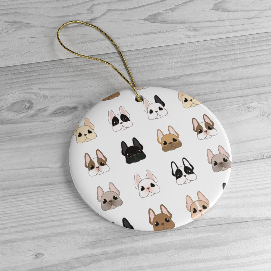 white round ceramic ornament with many different french bulldog faces on