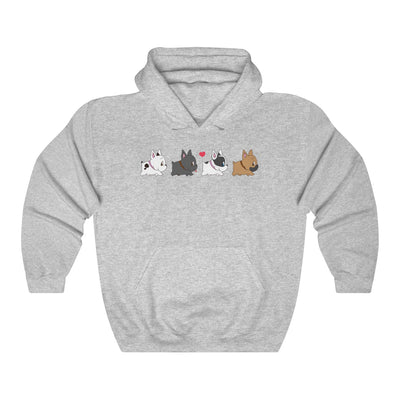 grey hoodie with four french bulldogs walking in a row on the front