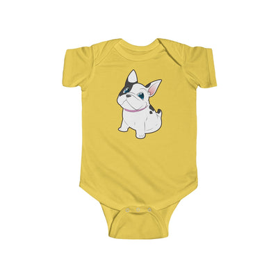 Yello baby Bodysuit with a cute white french bulldog on