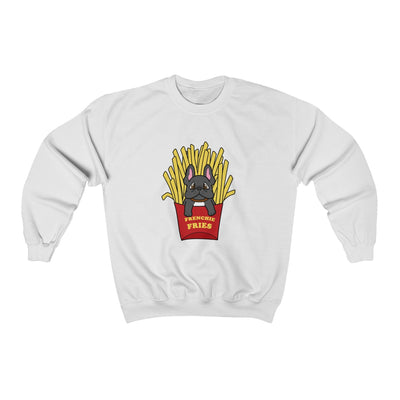 White hoodie with a French Bulldog Frenchie Fries design in the middle