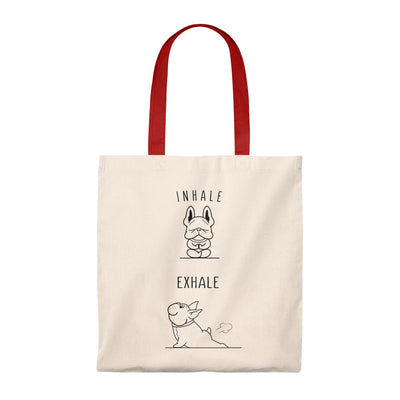 Beige tote bag with two french bulldogs doing yoga on, red handle