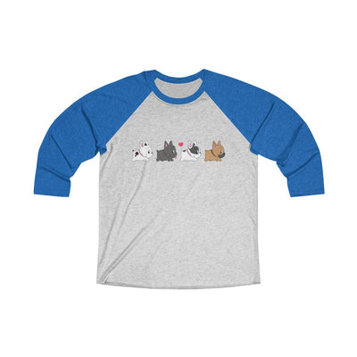 Blue 3/4 Tee with four french bulldogs on