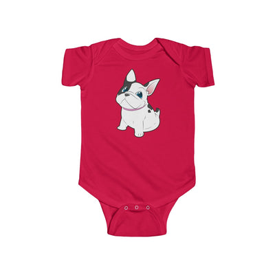 Red baby Bodysuit with a cute white french bulldog on