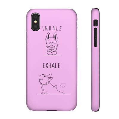 Pink phone case with french bulldog doing yoga on, front and side view