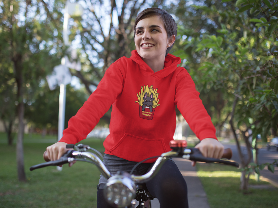 Red hoodie with a french bulldog frenchie fries design on