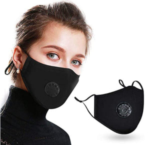 Washable and Reusable Face Mask with a Breathing Valve and 1 Active Carbon Filters.