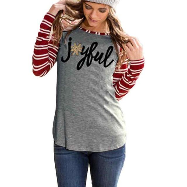 Long Sleeve Striped Joyful T-Shirt