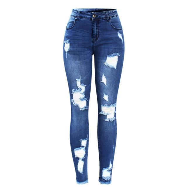Stretchy Blue Ripped Jeans