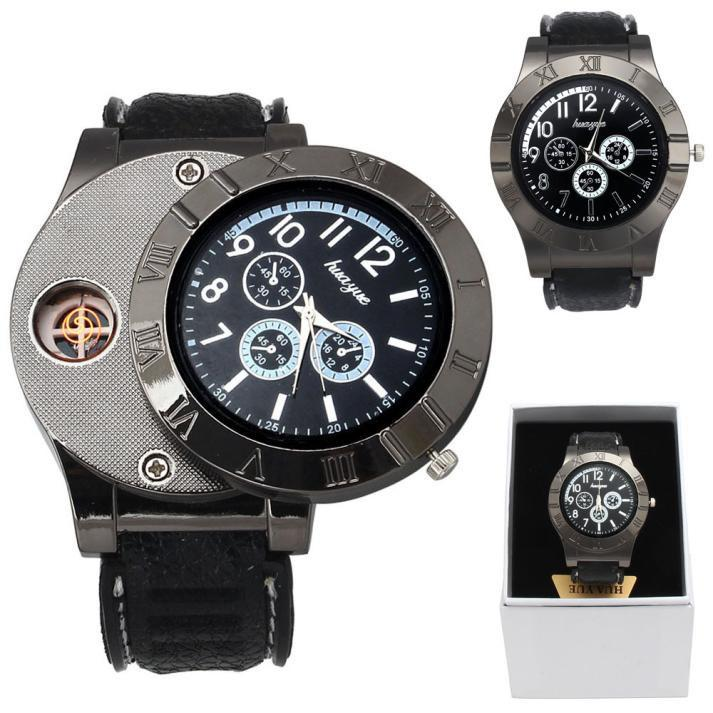 Military Quartz Watch With USB Cigarette Cigar Flameless Lighter