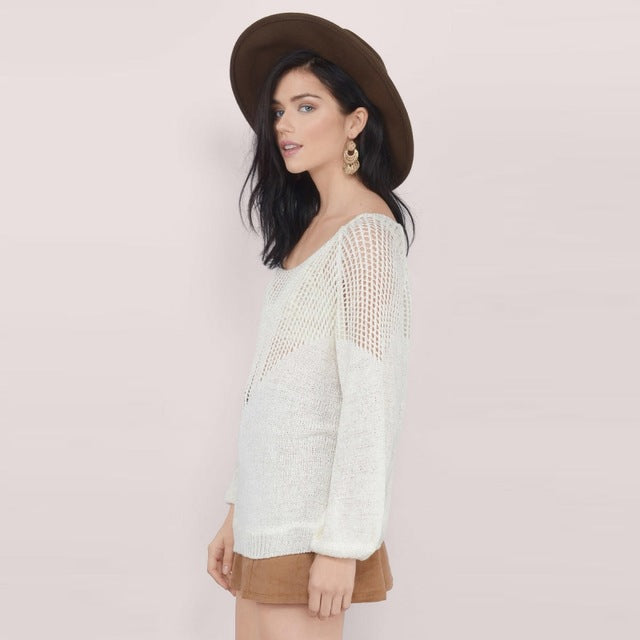 Hollow Out White Sweater