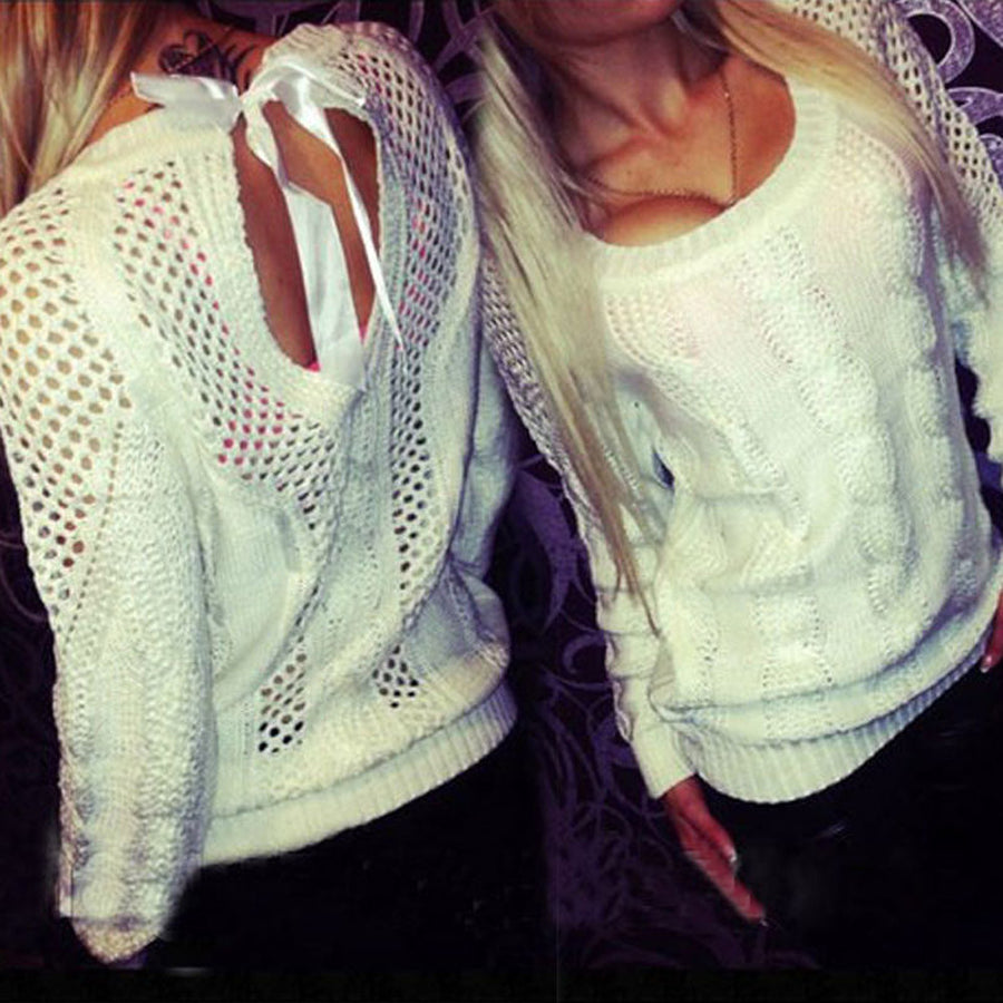 Backless Pullover Sweater