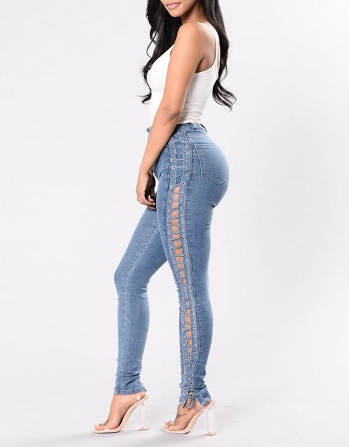 Lace Up Denim Jeans