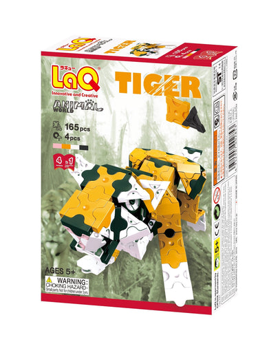 Tiger package front view featured in the LaQ animal world set